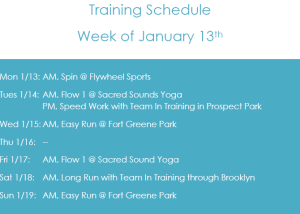 Weekly Training Schedule, 1/13/14