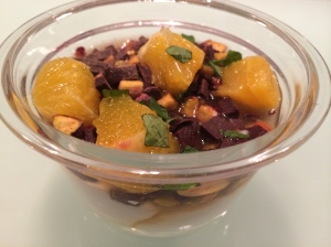 Choboani nonfat plain yogurt with dark chocolate, pistachios and orange chunks, a perfect post-prenatal yoga treat! 3/28/14