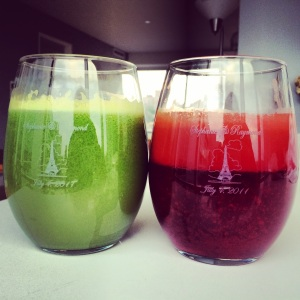 Freshly made green juice, comprised of kale, apples, lemon and ginger, and red juice, comprised of beets, carrots, apples, lemon and ginger. No more juice pre-run!