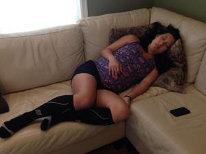 Afternoon nap with my compression socks, 5/10/14