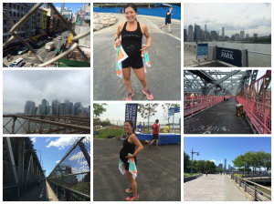 Clockwise from bottom left: Manhattan Bridge, Brooklyn Bridge, Chinatown from Manhattan Bridge, National Running Day swag, Brooklyn Bridge Park, Williamsburg Bridge, Hudson River Park and National Running Day swag!